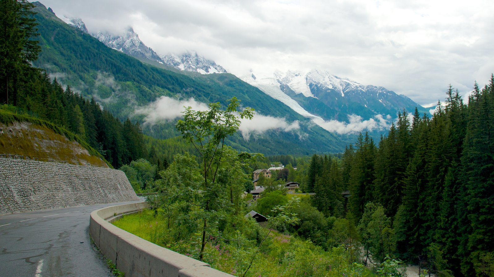 Argentiere which includes forest scenes and mountains