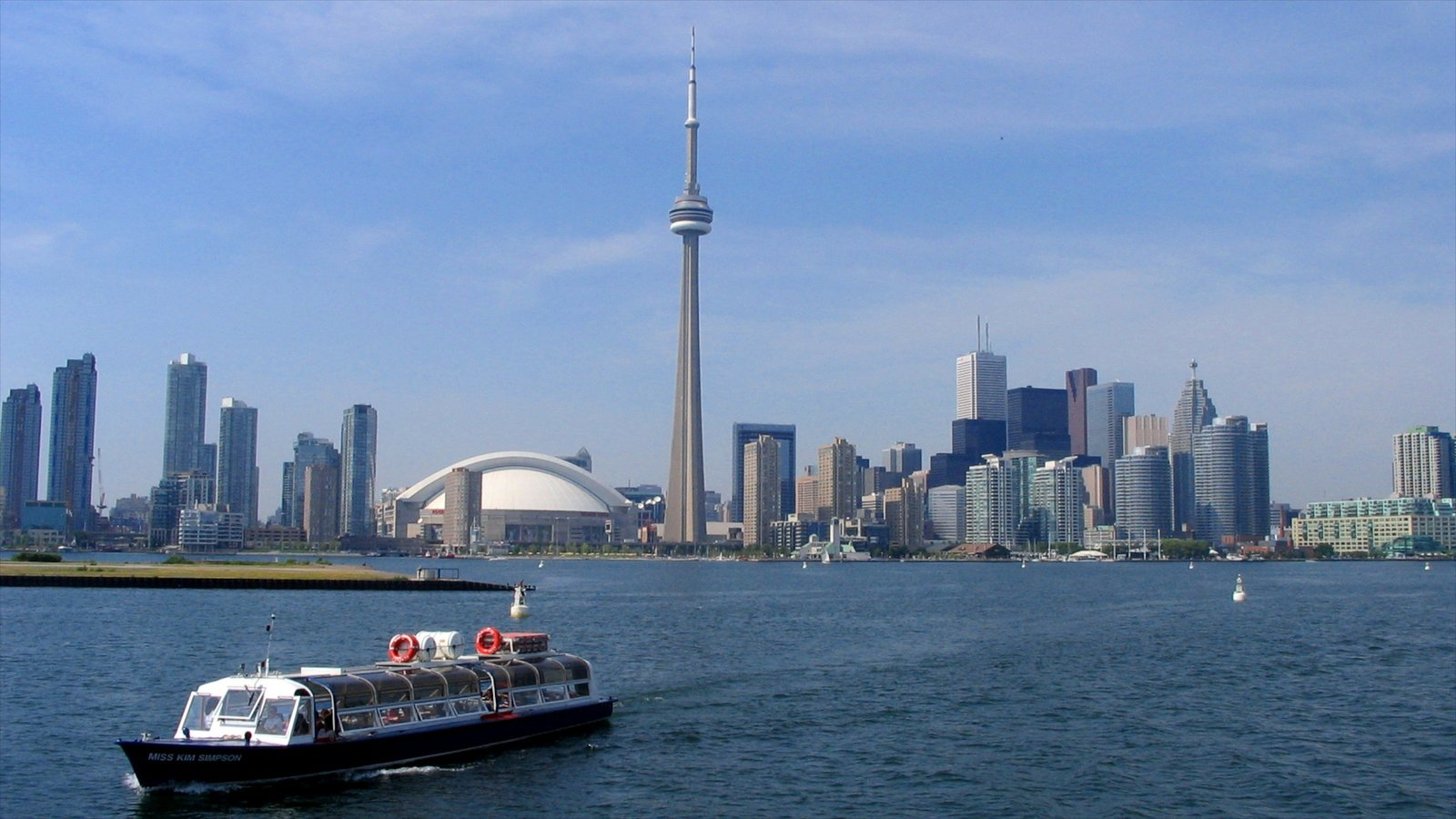 CN Tower showing modern architecture, a ferry and general coastal views