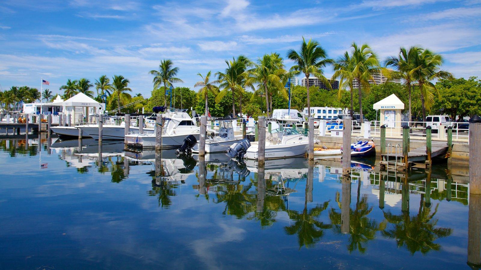 Coconut Grove mostrando cenas tropicais e uma marina
