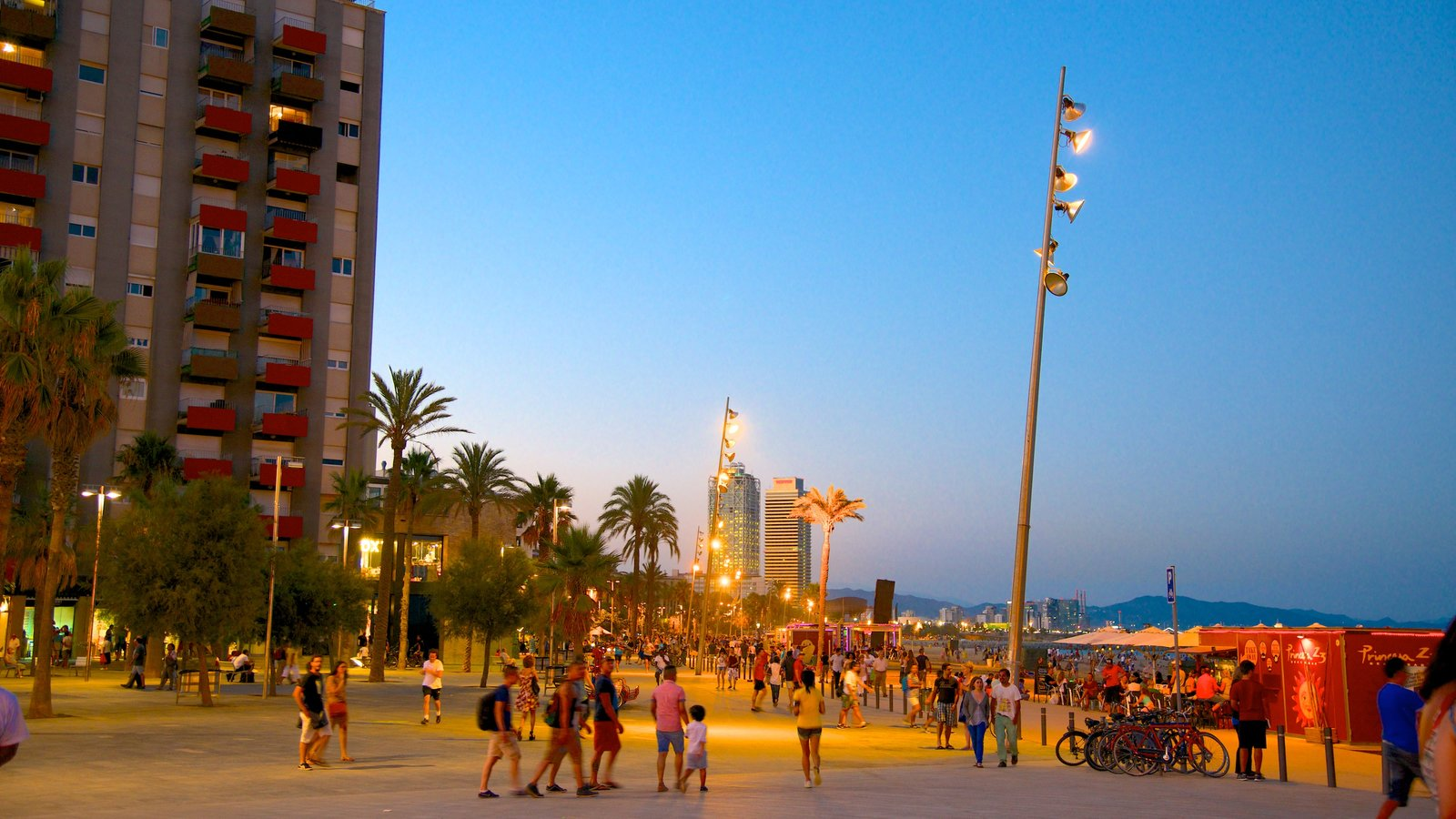 Barceloneta Beach which includes street scenes, a city and night scenes