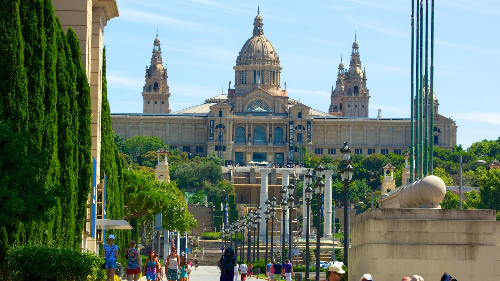 National Art Museum of Catalonia which includes heritage architecture, a city and a square or plaza