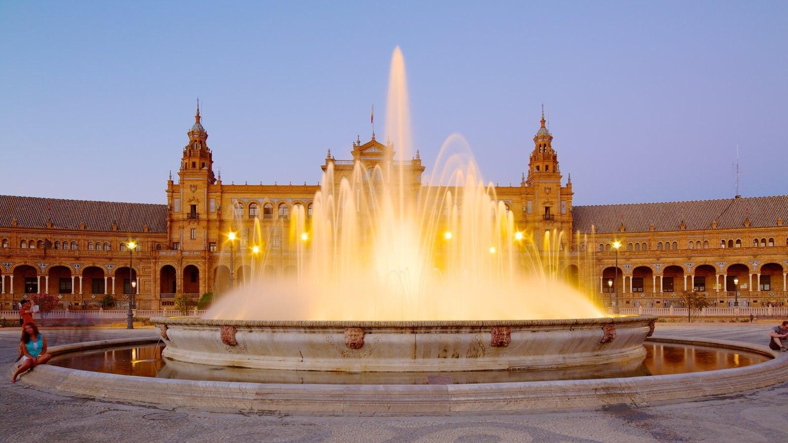 Plaza de España que inclui uma fonte, arquitetura de patrimônio e uma praça ou plaza