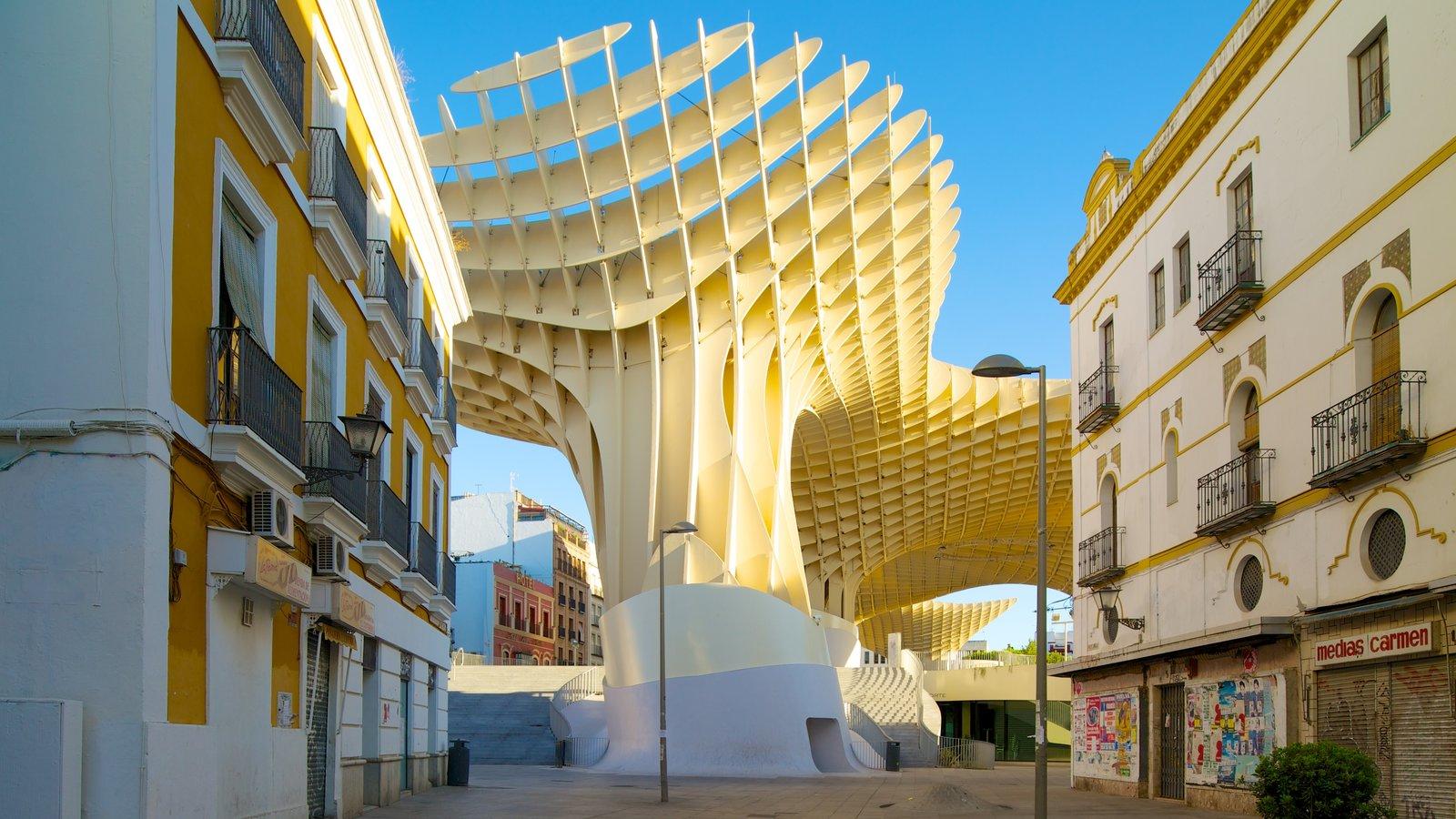 Metropol Parasol mostrando una ciudad, arquitectura moderna y escenas urbanas