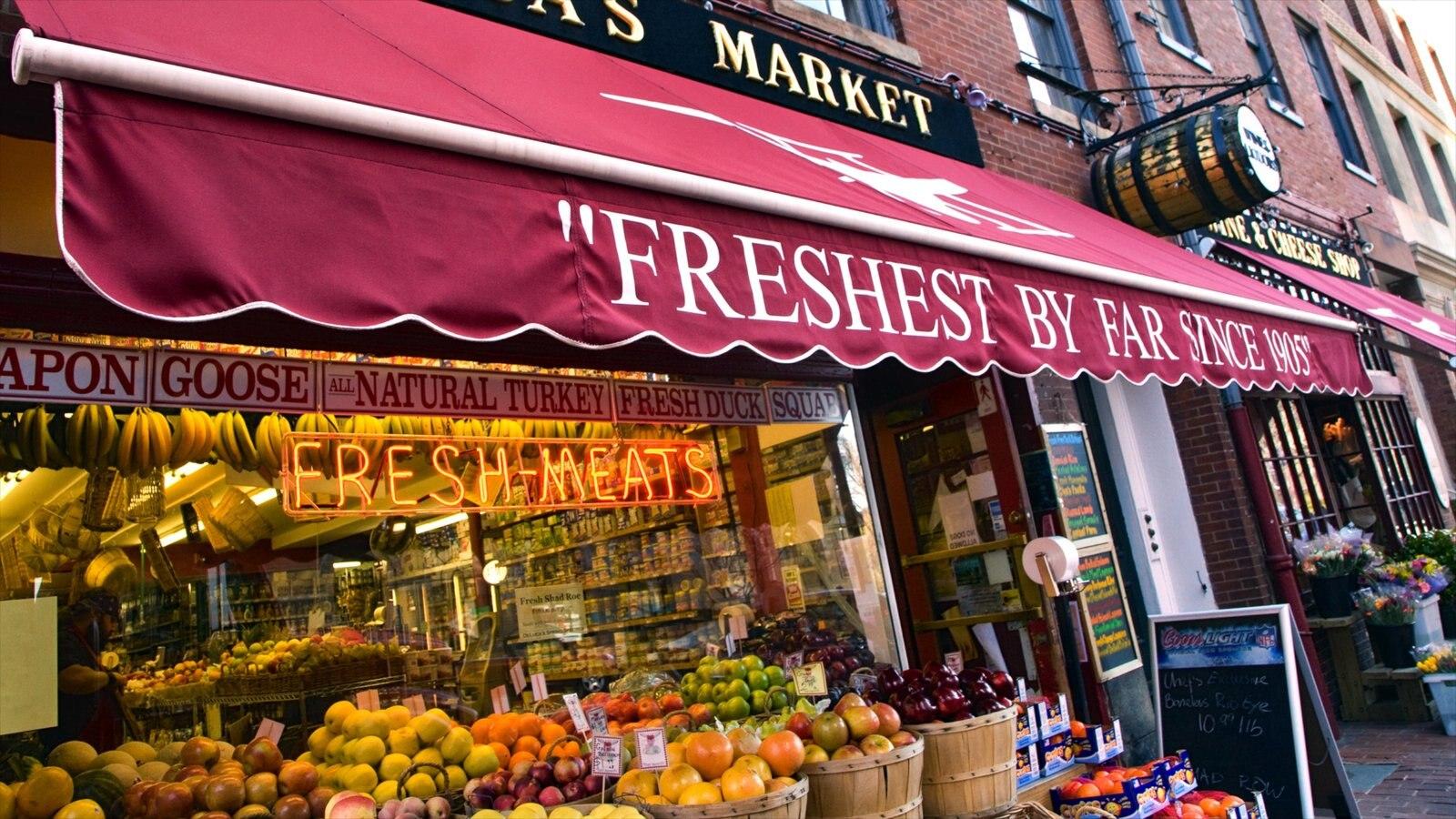 Beacon Hill mostrando comida, sinalização e mercados