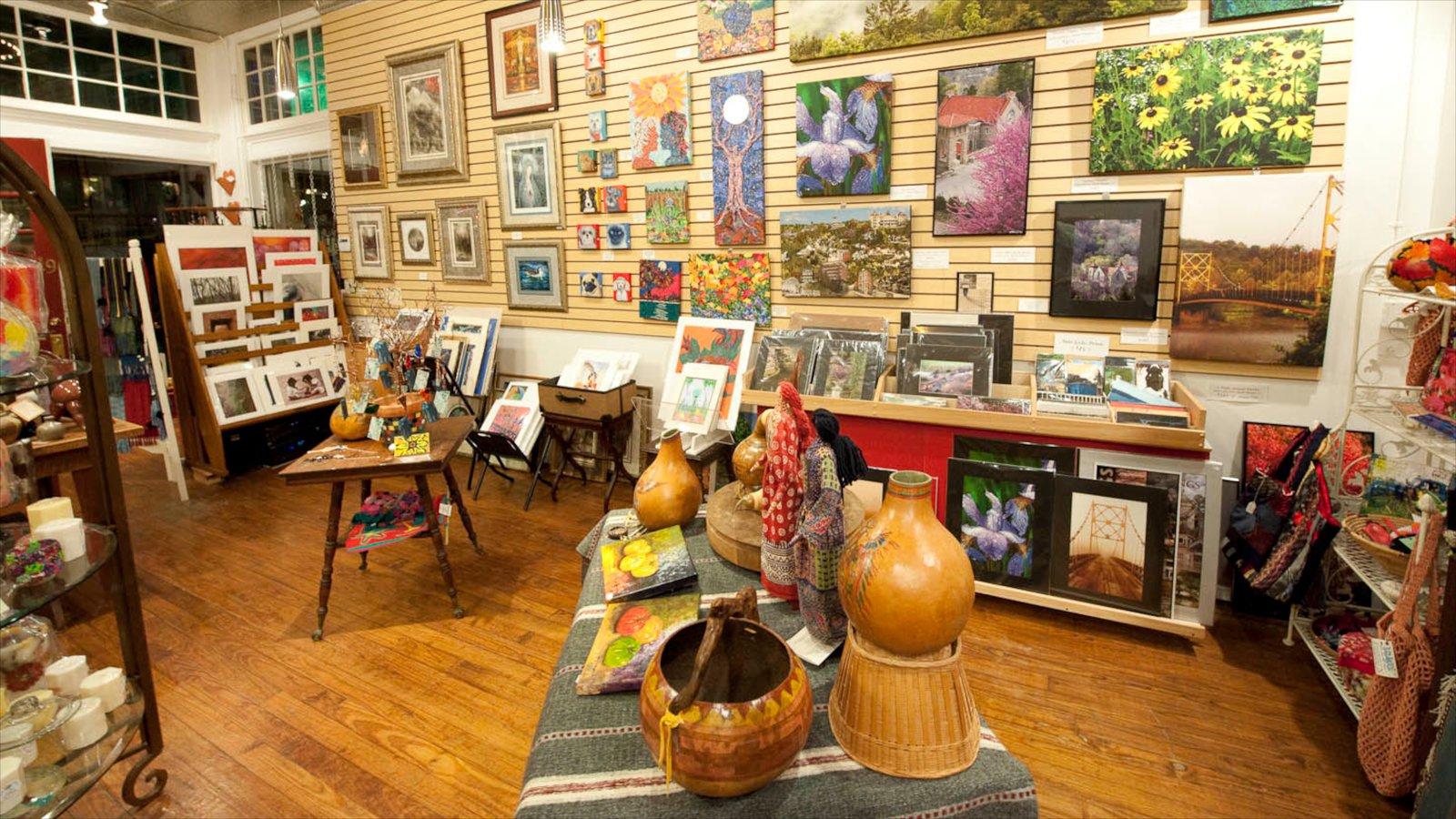 Eureka Springs mostrando vistas internas e arte