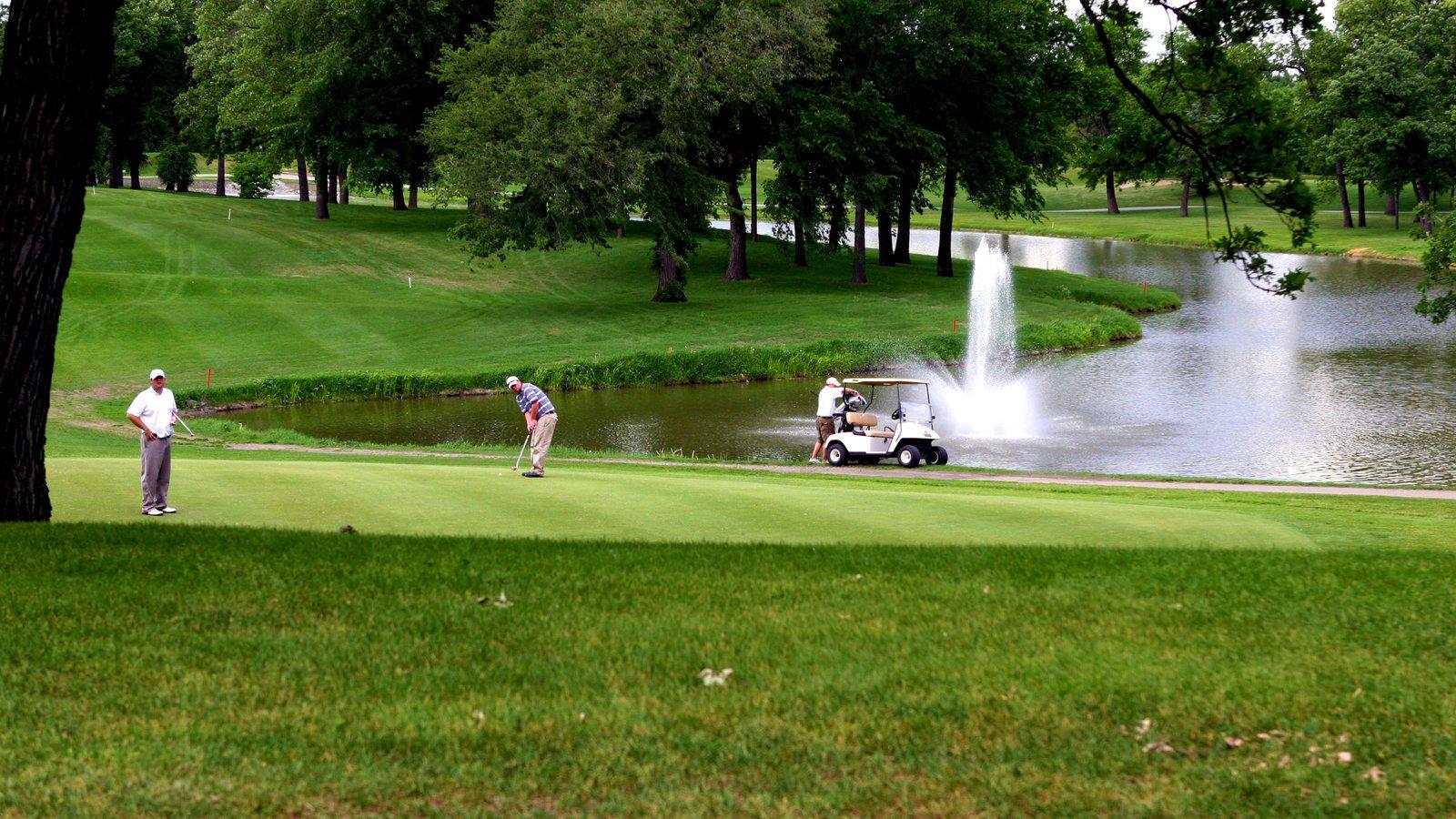 Fargo mostrando golfe, um lago e uma fonte