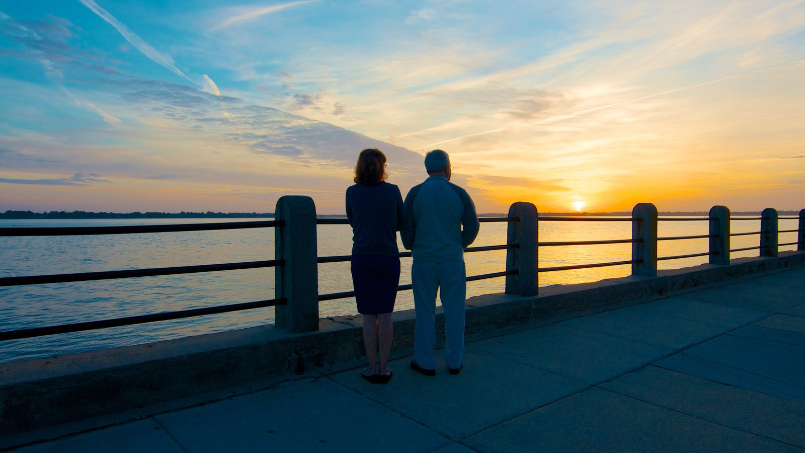 Charleston Waterfront Park caracterizando um pôr do sol e paisagens litorâneas assim como um casal