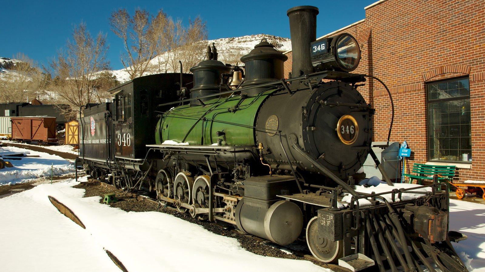Golden caracterizando neve e itens de ferrovia
