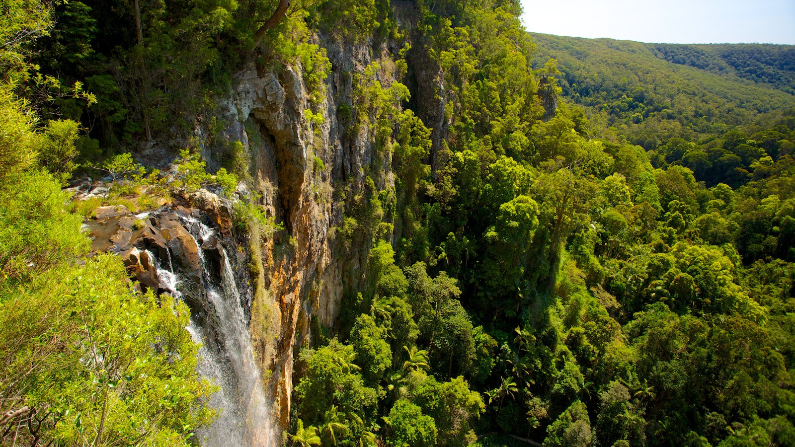 Springbrook National Park which includes mountains, landscape views and a waterfall