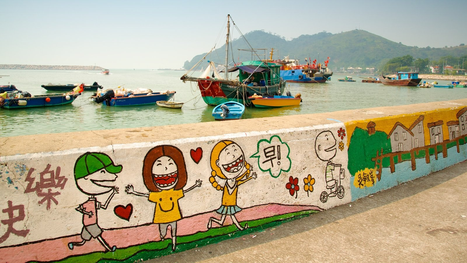 Tai O Fishing Village showing a bay or harbor, outdoor art and boating