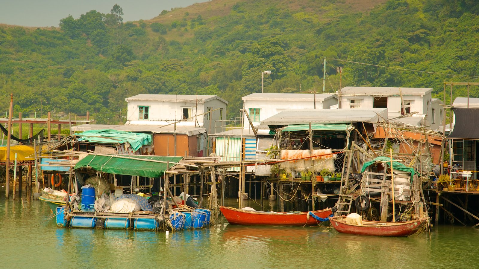 Tai O Fishing Village showing boating, a small town or village and a river or creek
