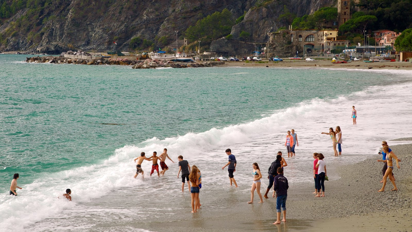 Monterosso al Mare featuring swimming, a coastal town and a sandy beach