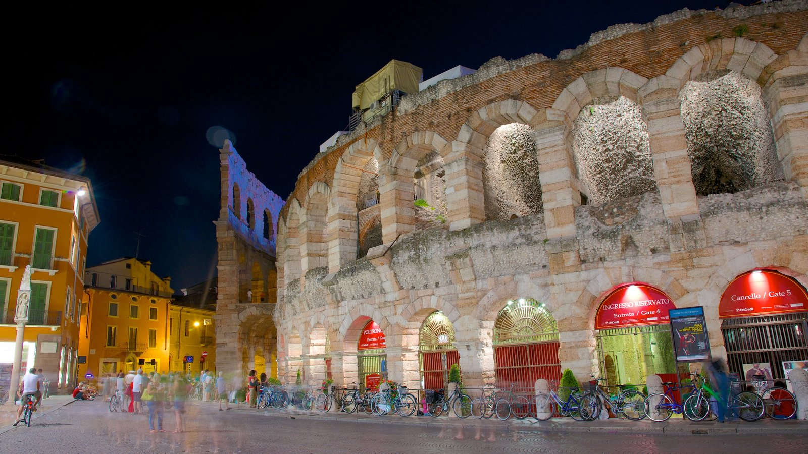Arena di Verona featuring night scenes, a city and heritage elements