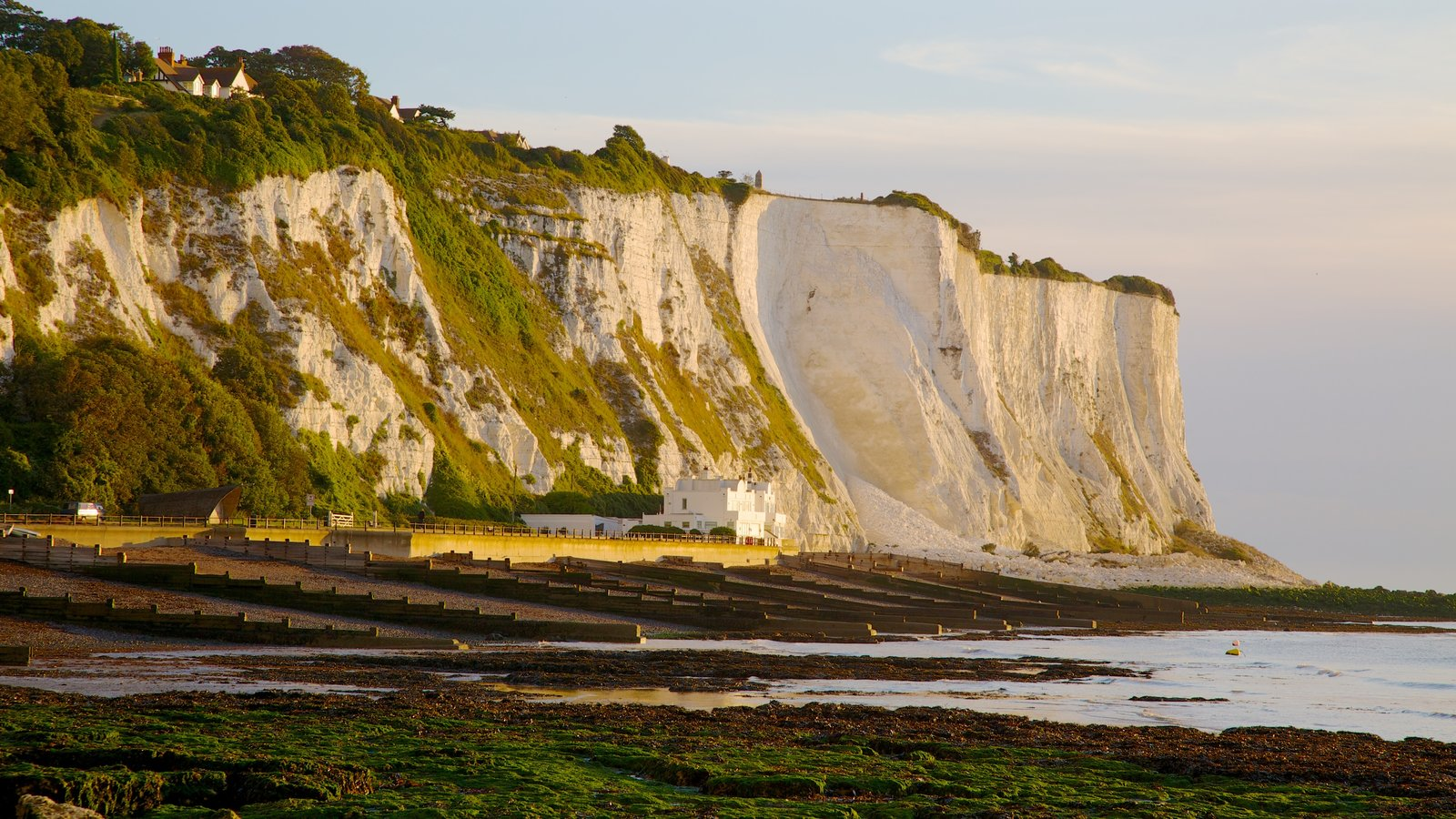 White Cliffs of Dover featuring rocky coastline, landscape views and a pebble beach