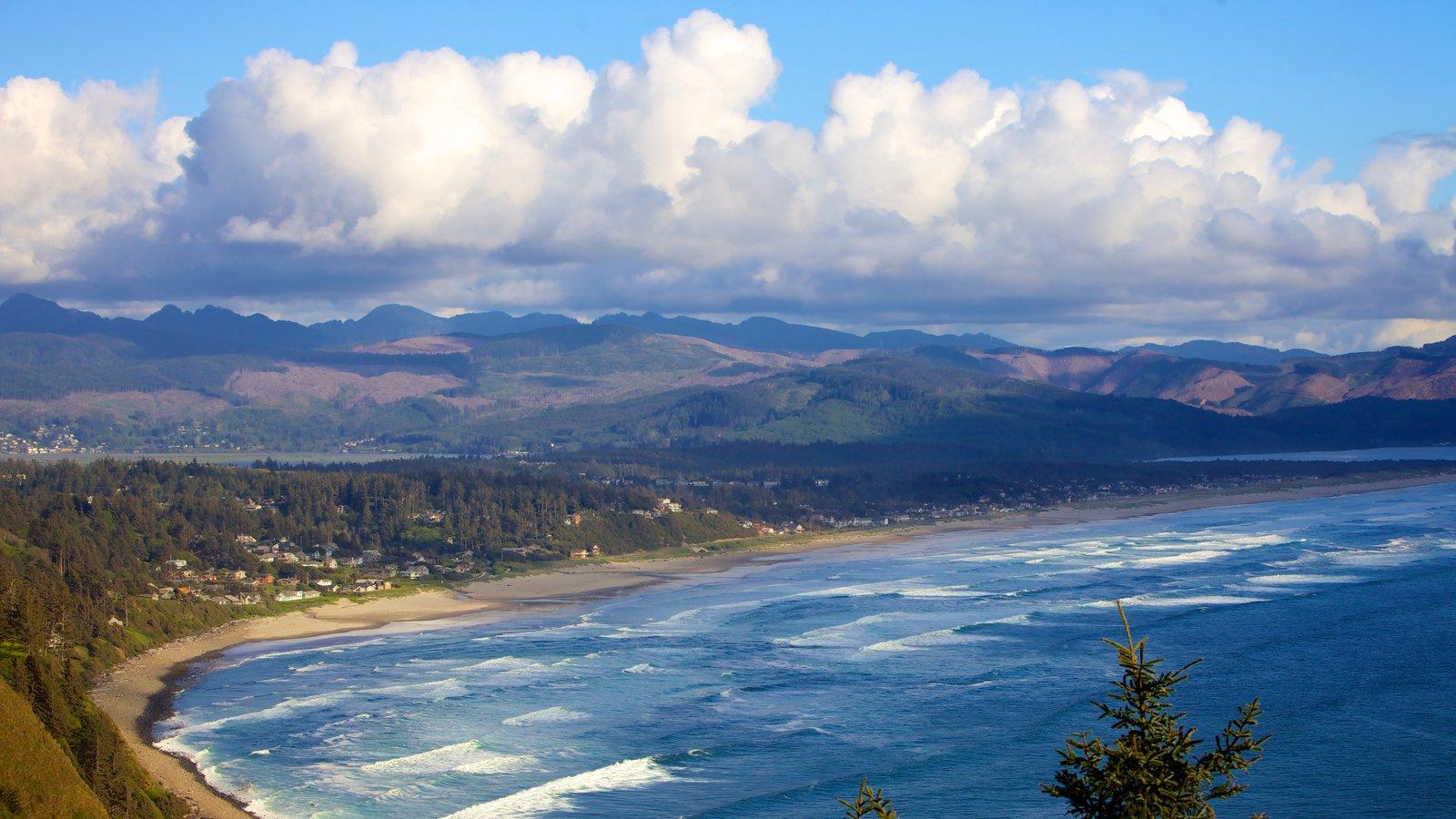 Newport que incluye montañas, vistas de paisajes y vistas generales de la costa