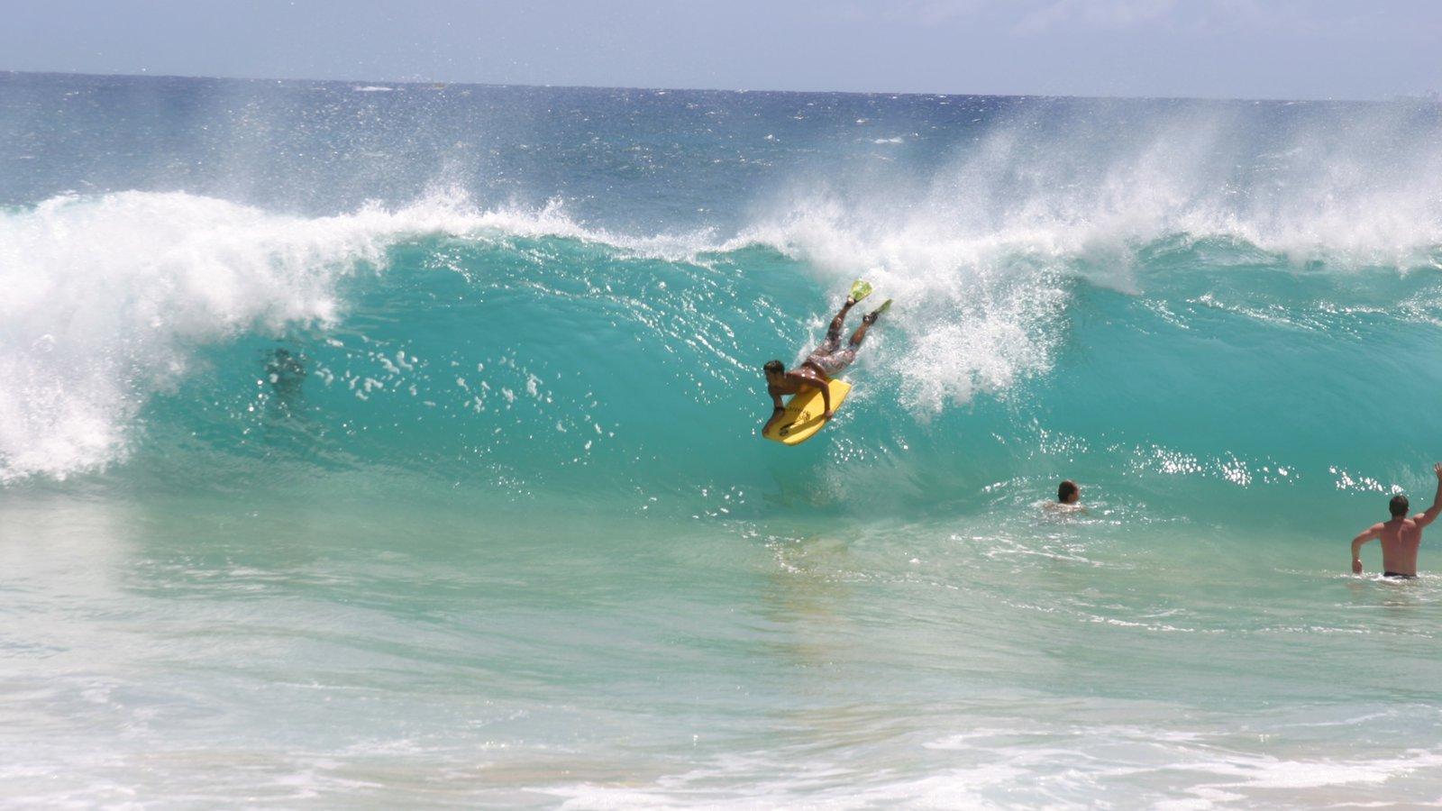 Makapuu Beach Park mostrando surfe assim como um homem sozinho
