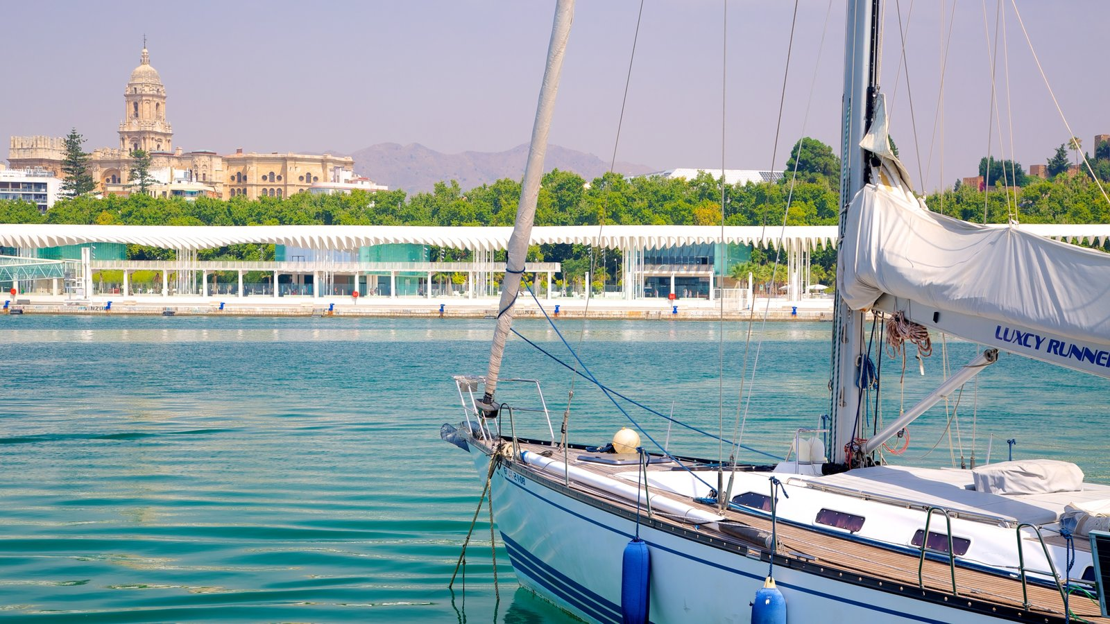 Malaga showing heritage architecture, a marina and boating