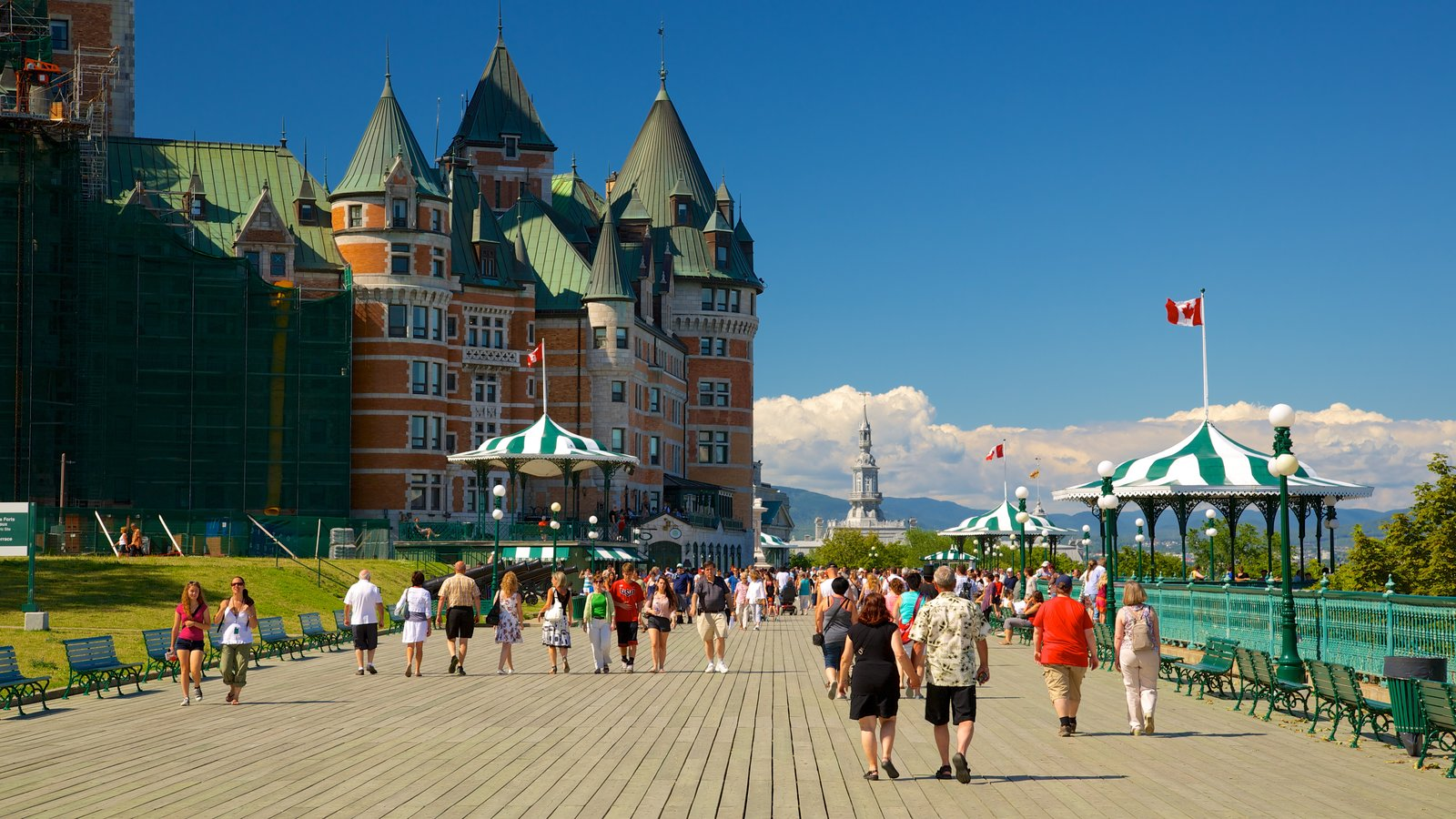 Parks Canada\'s Dufferin Terrace which includes heritage architecture, a city and a castle