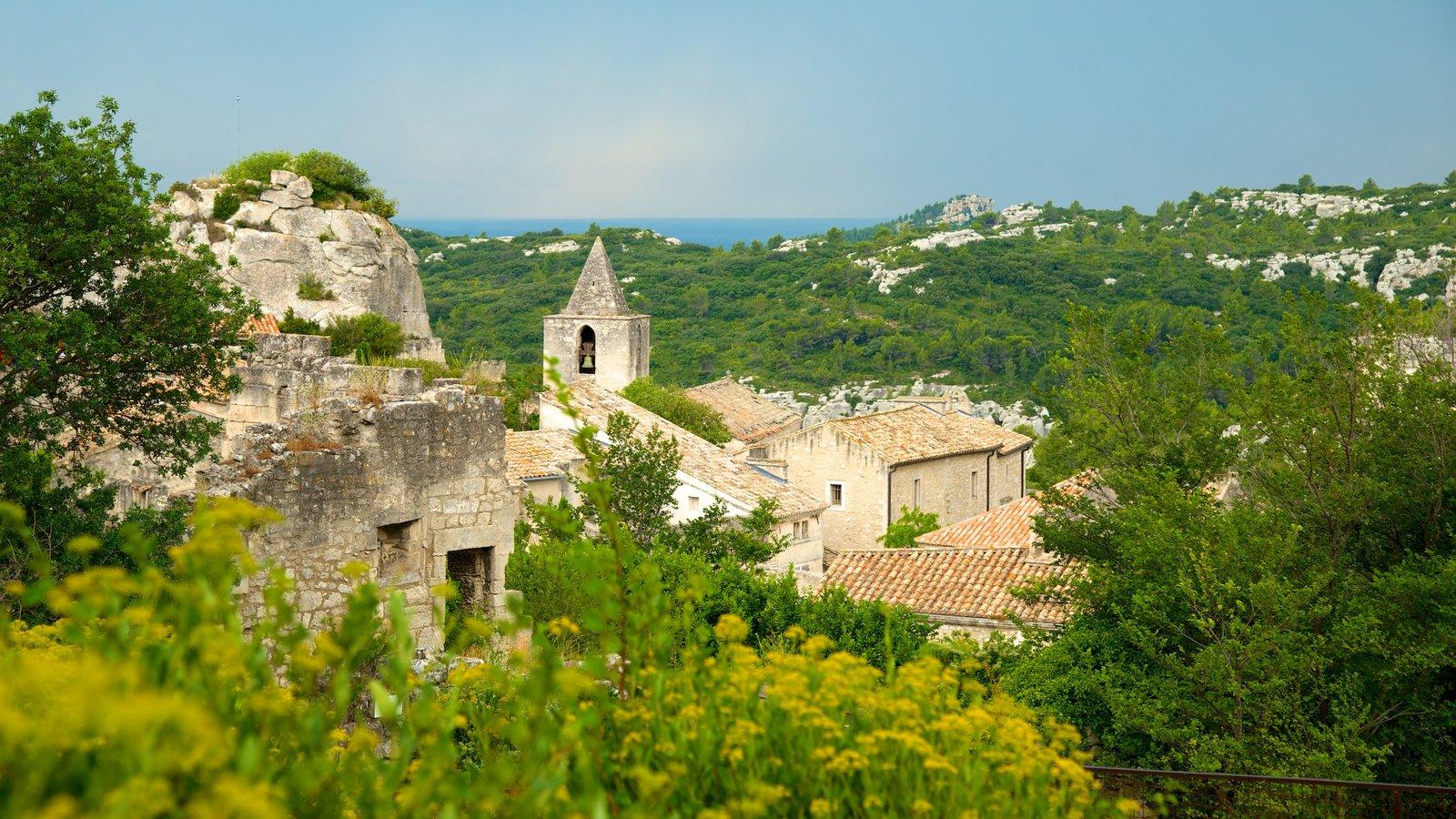 Chateau des Baux que inclui um pequeno castelo ou palácio, cenas de floresta e paisagem