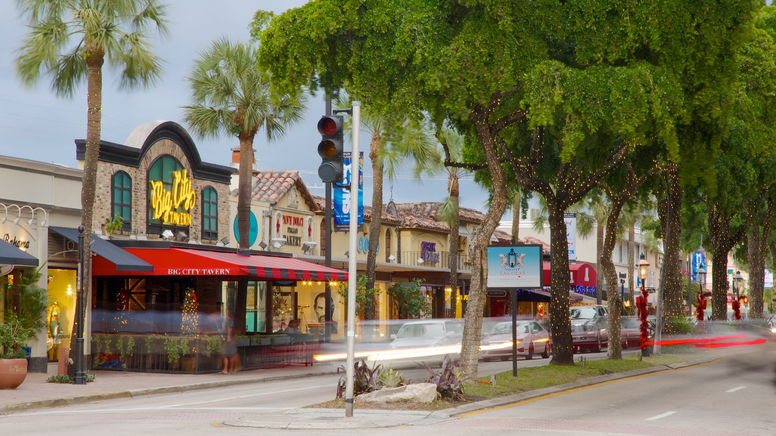 Las Olas Riverfront showing a city and street scenes