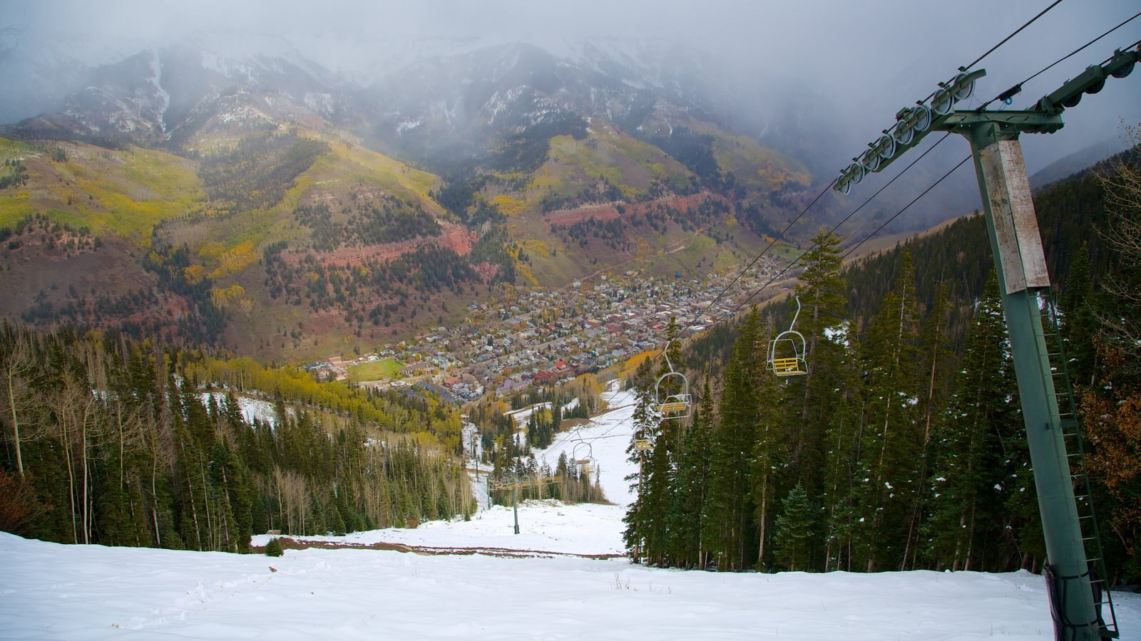 Telluride Ski Resort Which Includes Snow A Small Town Or Village And Forests