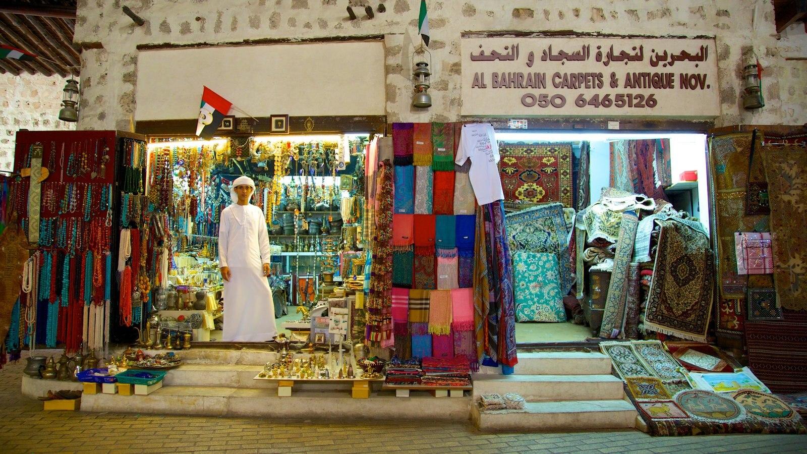 Dubai Emirate showing markets, shopping and signage