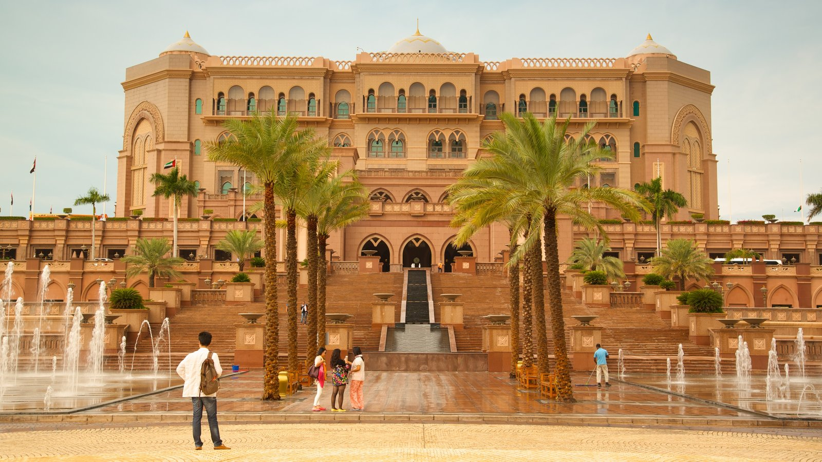 Abu Dhabi Emirate which includes a fountain, heritage elements and heritage architecture