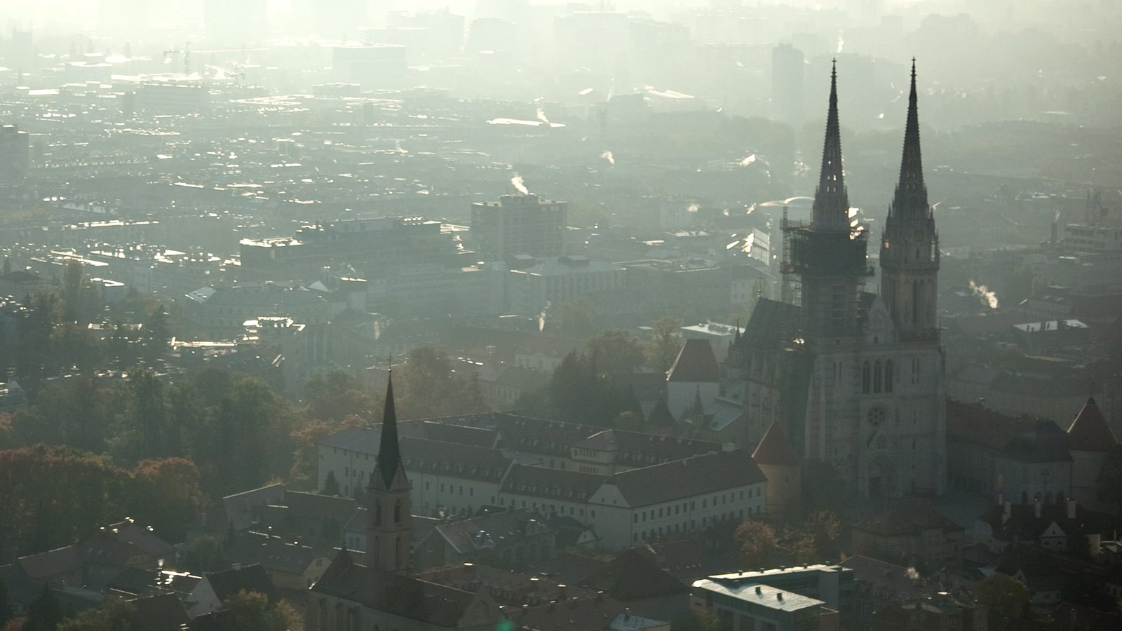 Zagreb County showing a city, mist or fog and heritage architecture