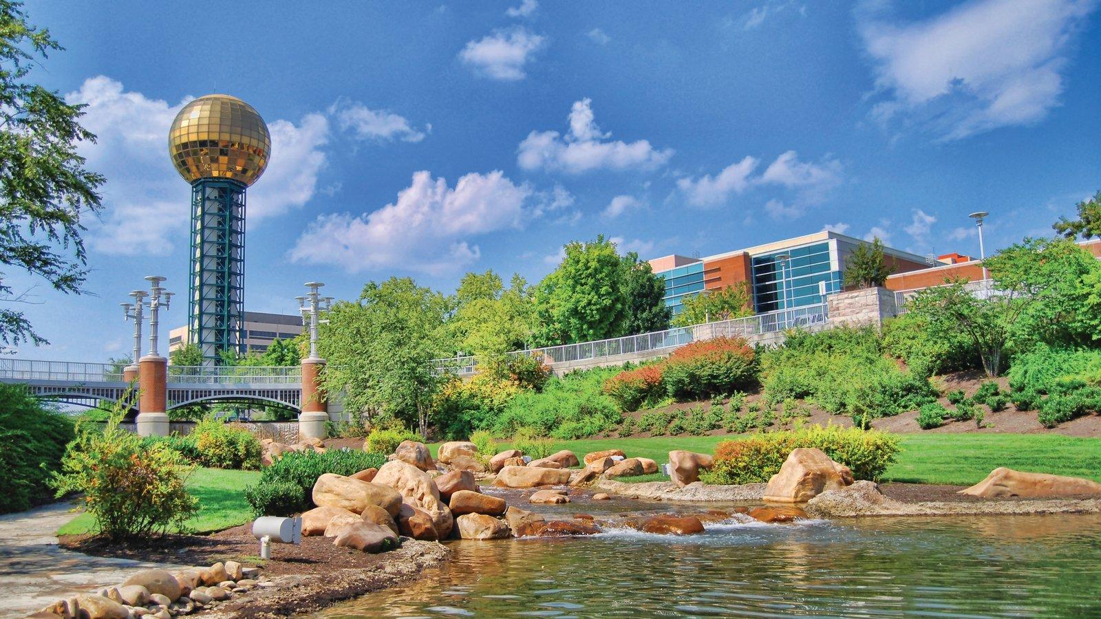 Knoxville caracterizando arquitetura moderna, um parque e um lago