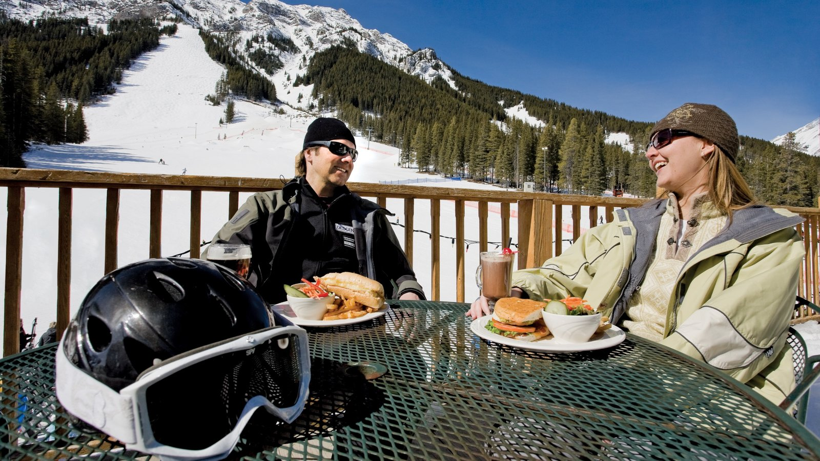 Mount Norquay Ski Resort featuring outdoor eating, snow and food