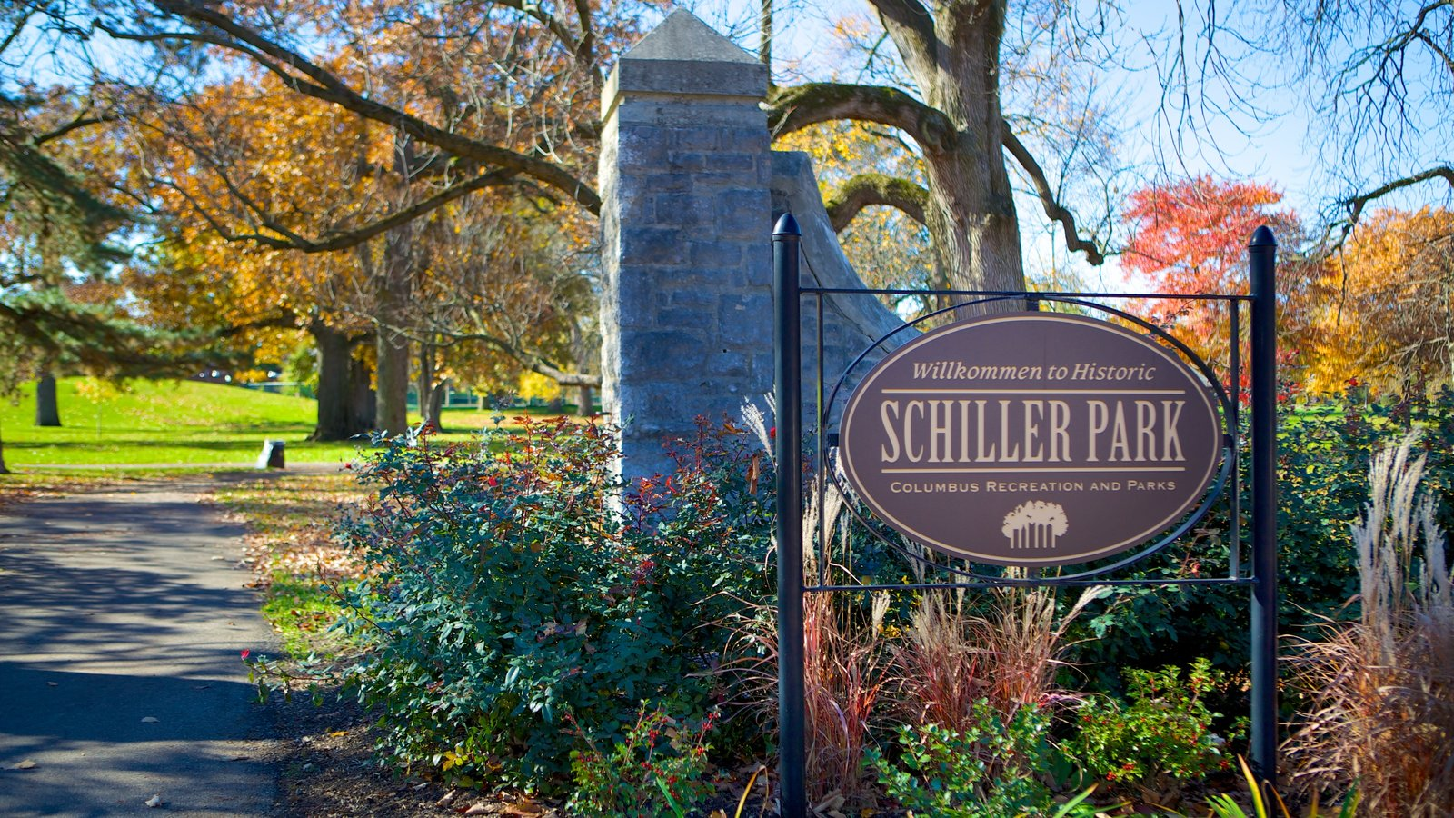 Schiller Park which includes a park and signage