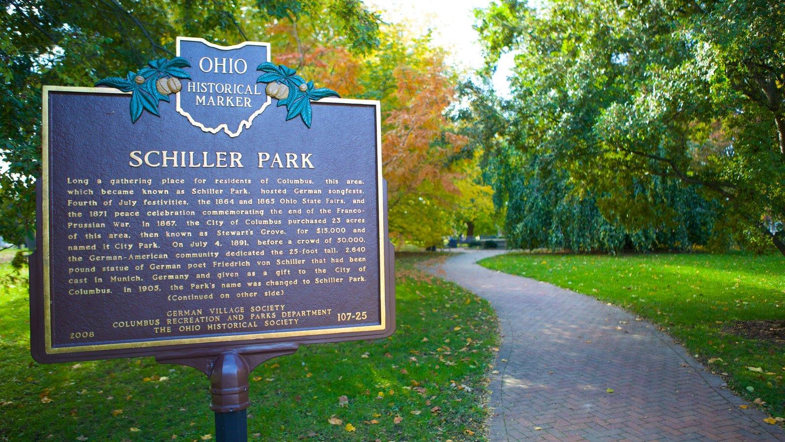 Schiller Park showing a garden and signage