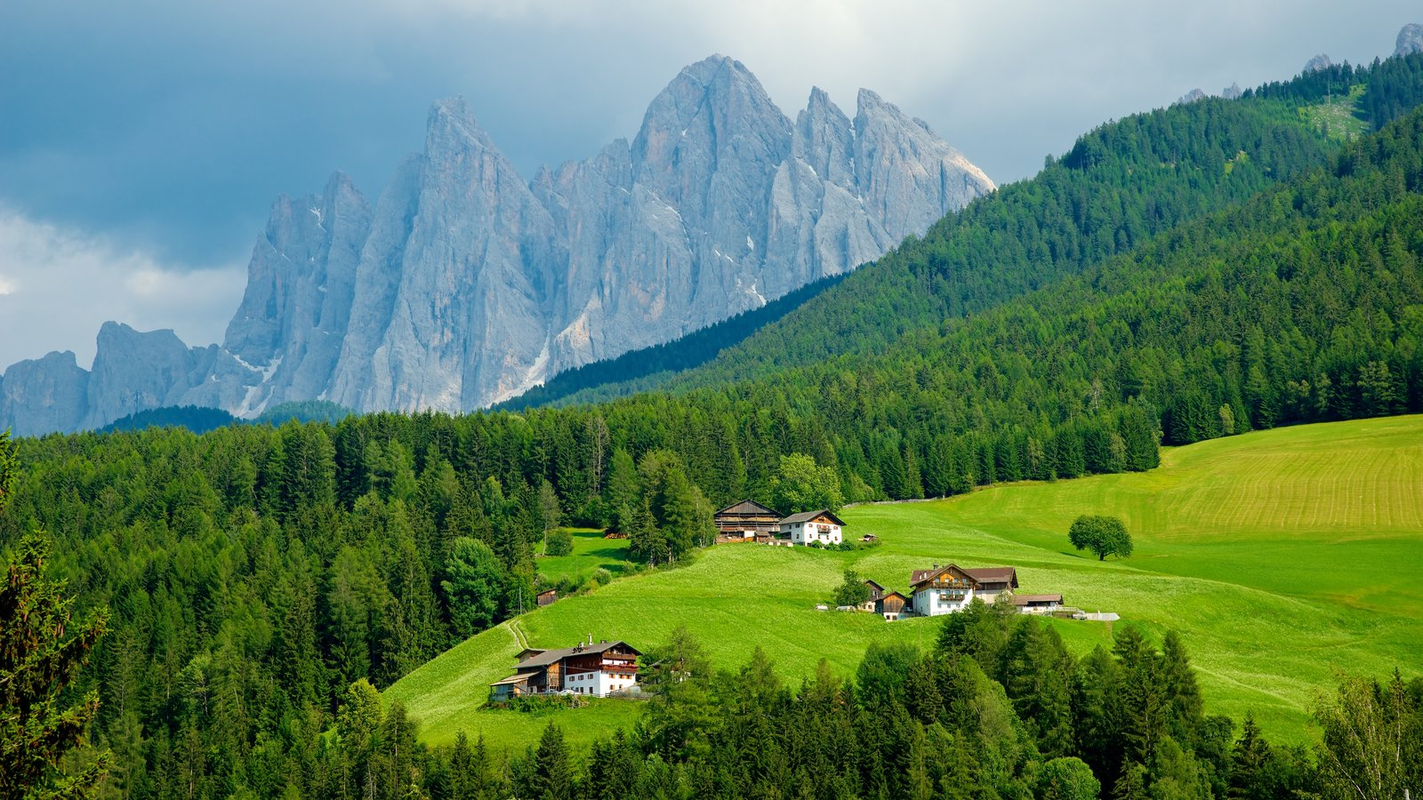 Funes featuring tranquil scenes, farmland and mountains