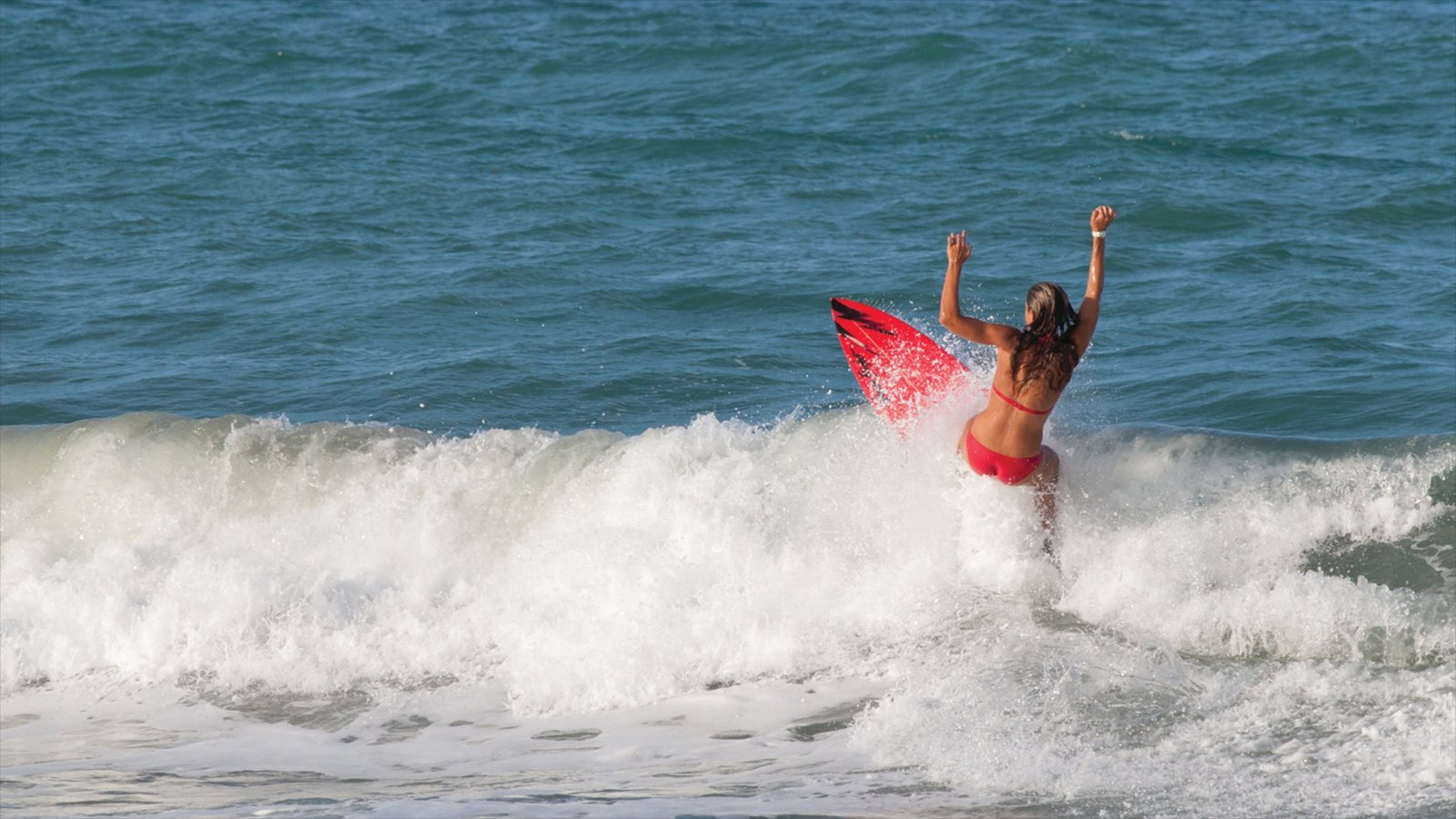 Vero Beach showing surfing and waves as well as an individual femail