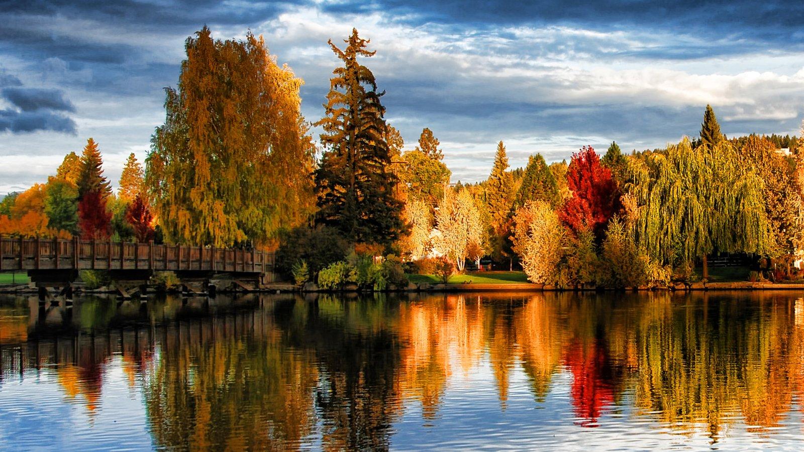 Bend que incluye un parque, un puente y los colores del otoño