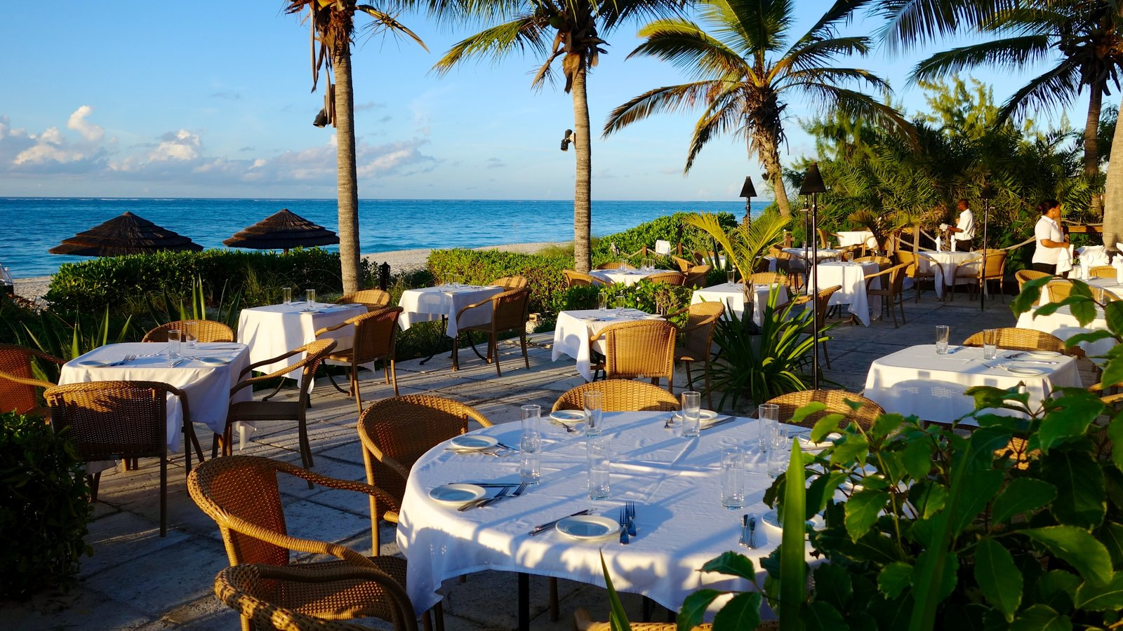 Grace Bay Beach featuring tropical scenes, general coastal views and outdoor eating