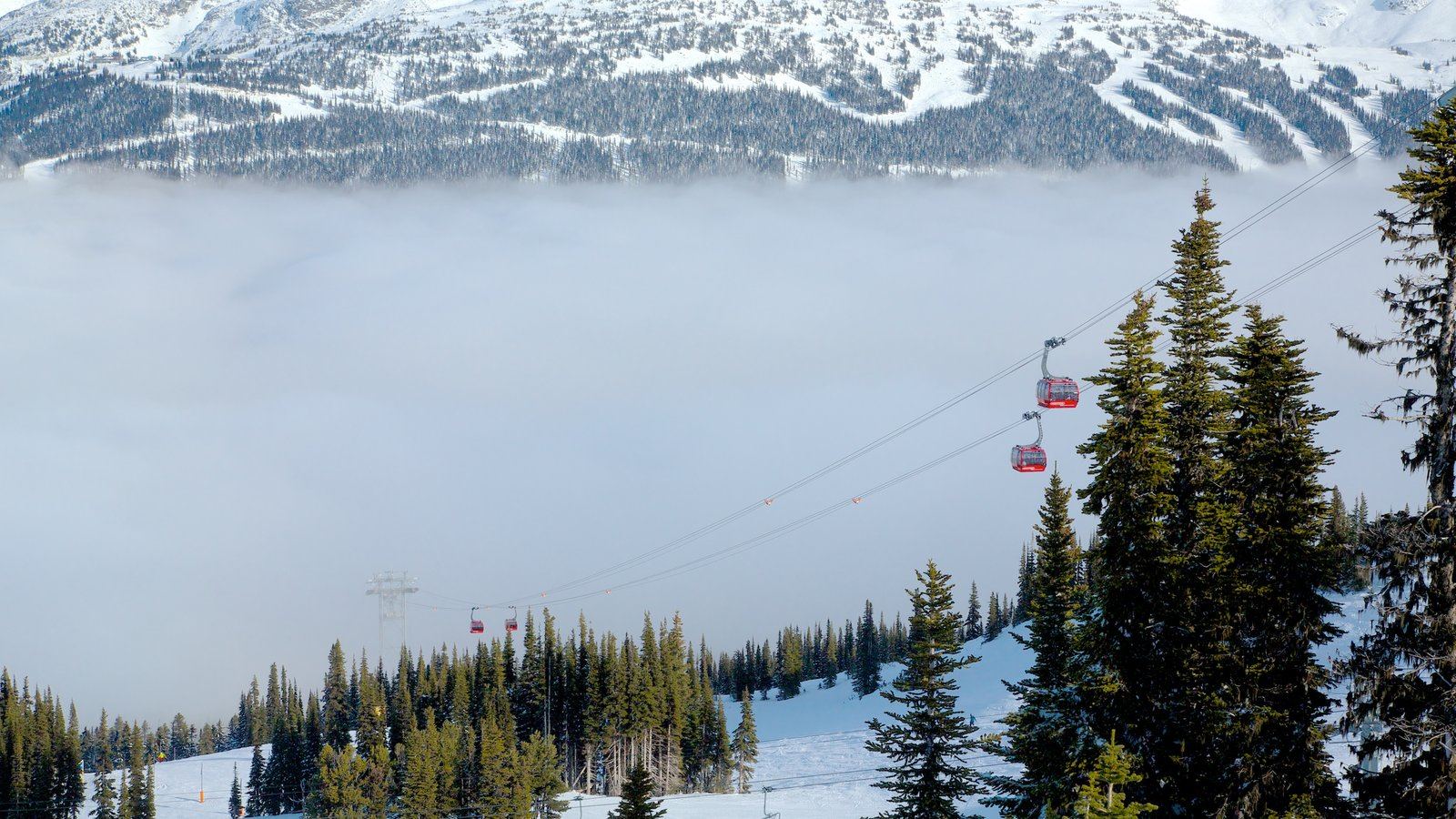 Teleférico Peak 2 Peak que incluye una góndola, montañas y neblina o niebla