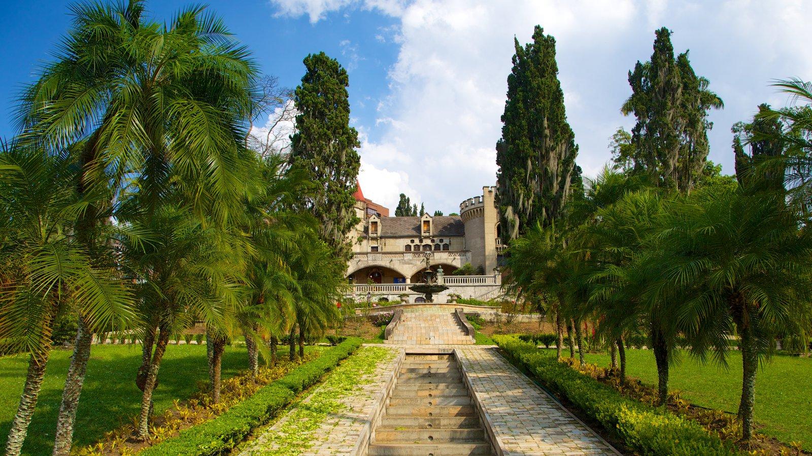 Museo El Castillo mostrando um pequeno castelo ou palácio e um parque