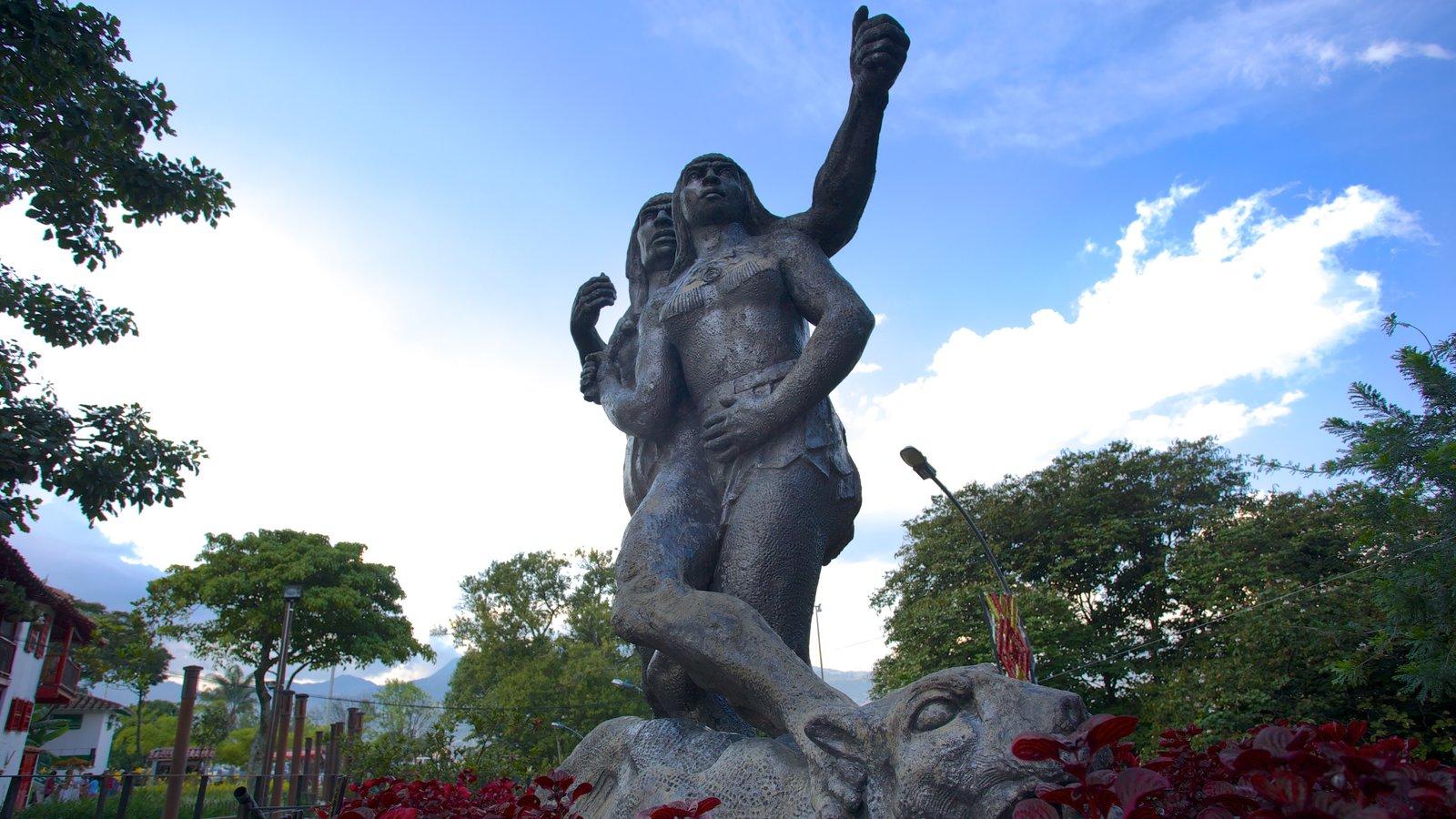 Pueblito Paisa que inclui uma estátua ou escultura e arte ao ar livre