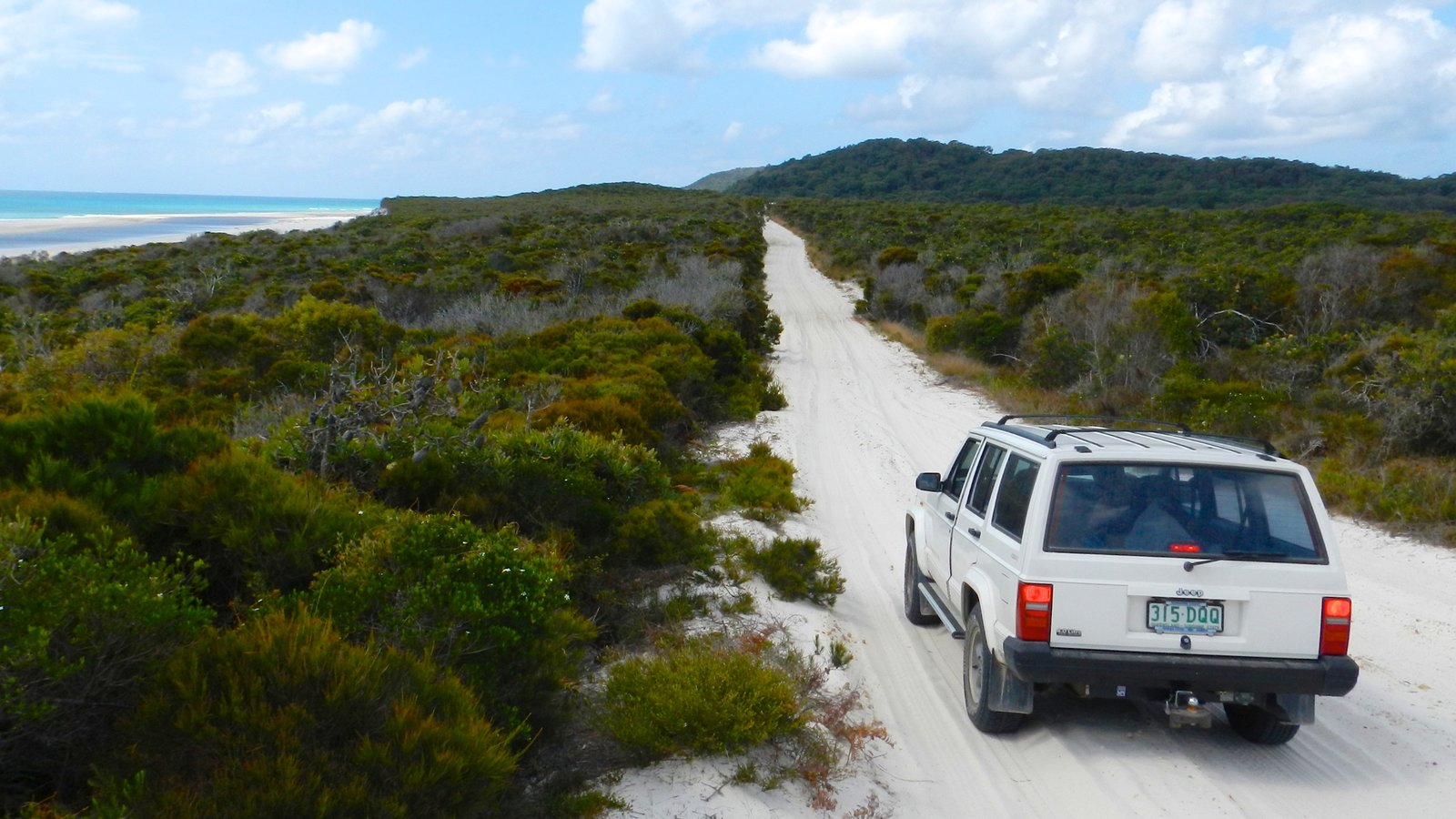 Moreton Island National Park which includes a beach, off road driving and general coastal views