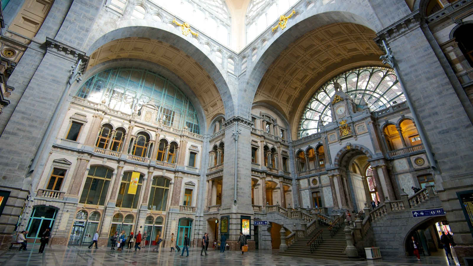 Antwerp Central Station which includes railway items, heritage architecture and interior views