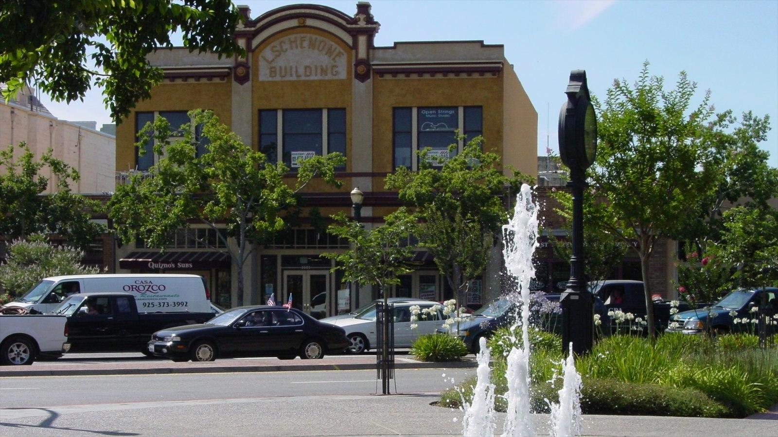 Pleasanton caracterizando sinalização, cenas de rua e arquitetura de patrimônio
