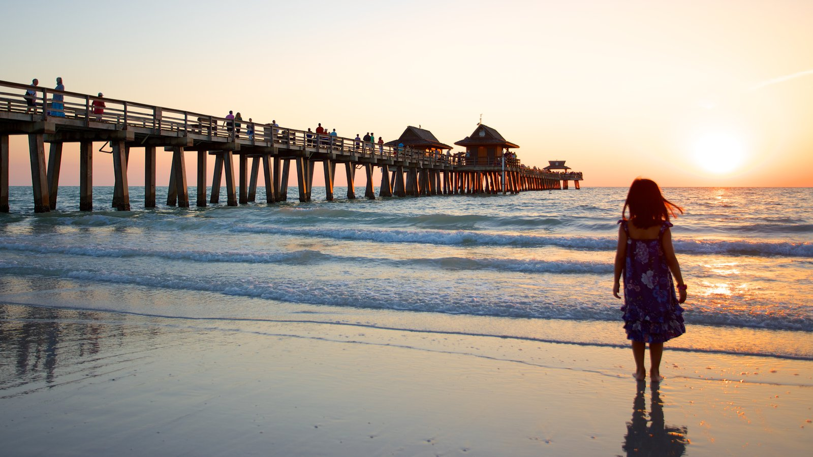 Naples Pier showing a sunset and a sandy beach as well as an individual child
