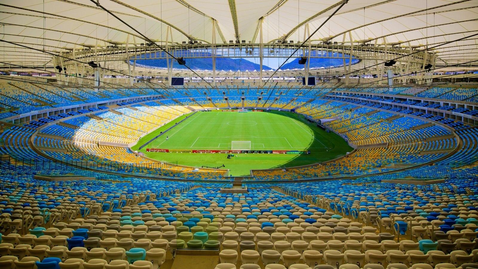Estádio Mário Filho caracterizando arquitetura moderna e vistas internas