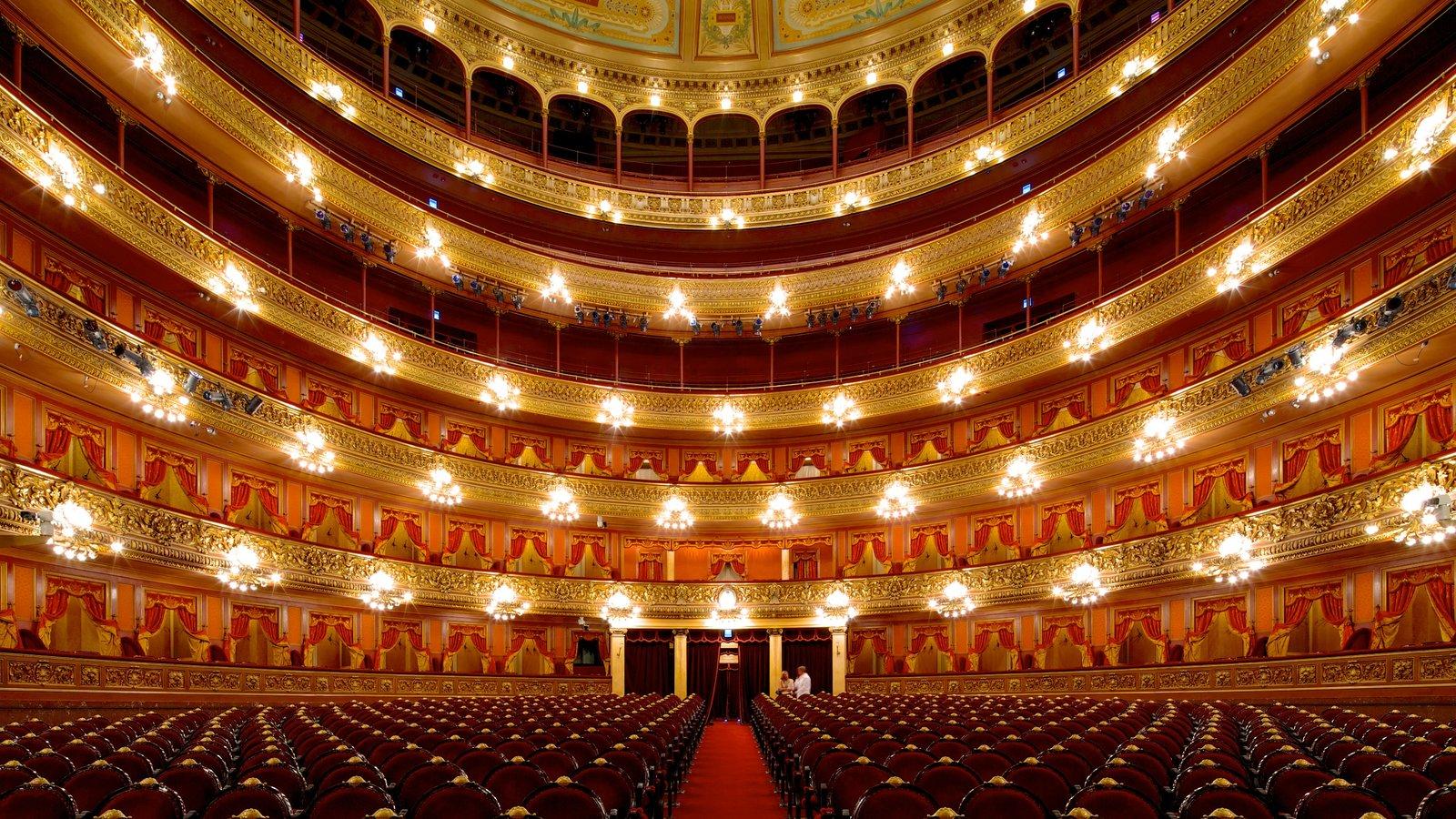 Teatro Colón mostrando cenas de teatro e vistas internas