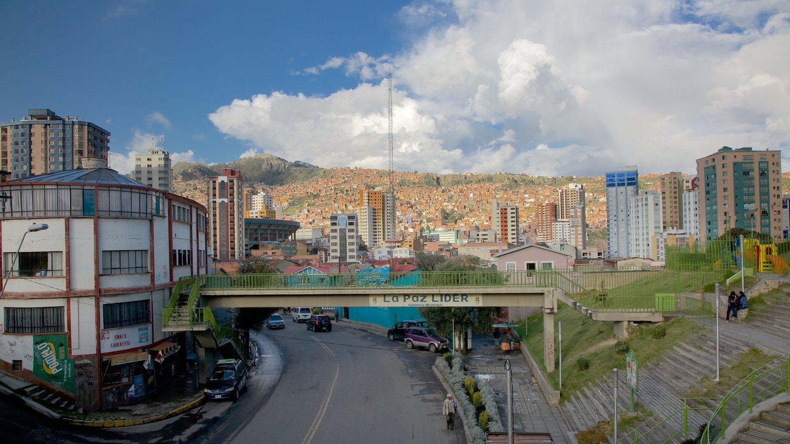La Paz caracterizando uma cidade e uma ponte