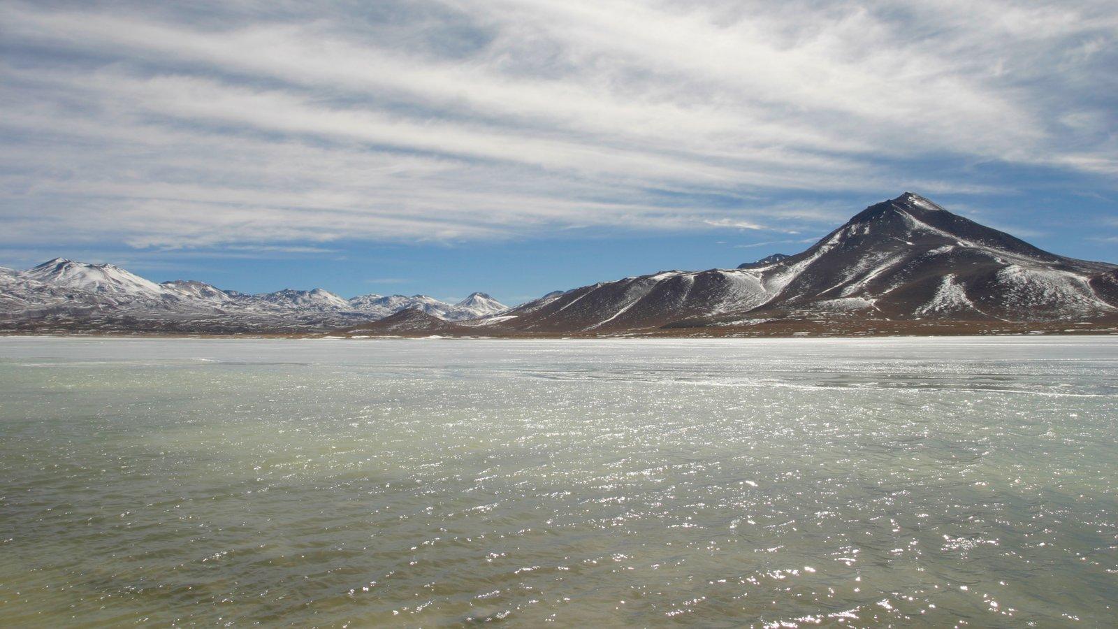 Bolívia mostrando montanhas, neve e um lago ou charco