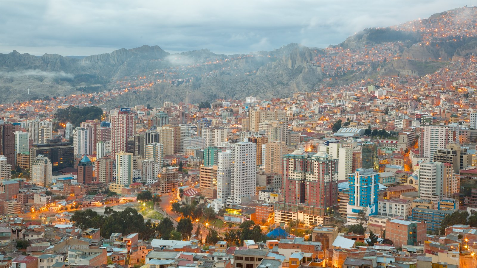 La Paz which includes a skyscraper and a city