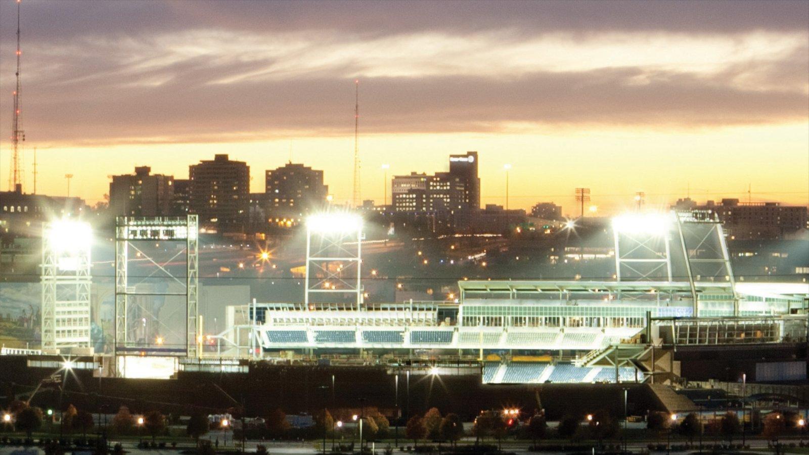Omaha que inclui um pôr do sol