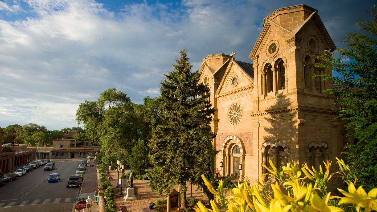 Cathedral Basilica of Saint Francis of Assisi que incluye una iglesia o catedral, aspectos religiosos y patrimonio de arquitectura